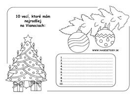 Vianoce - pracovné listy pre školákov