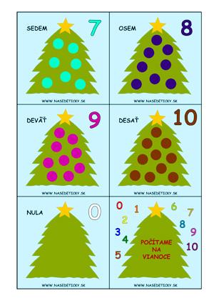 Kartičky - počítame - Vianoce