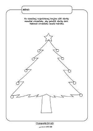 Vianočný stromček - pracovný list