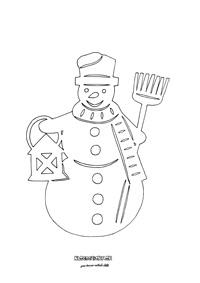 Snehuliak - vystrihovačka na okno