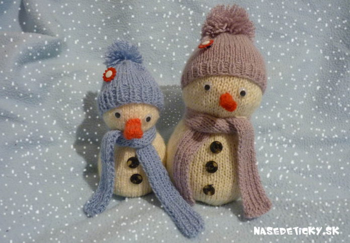 Snehuliak - hand made - štrikovaný