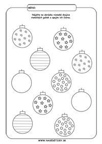 Vianočné gule - vianočný pracovný list