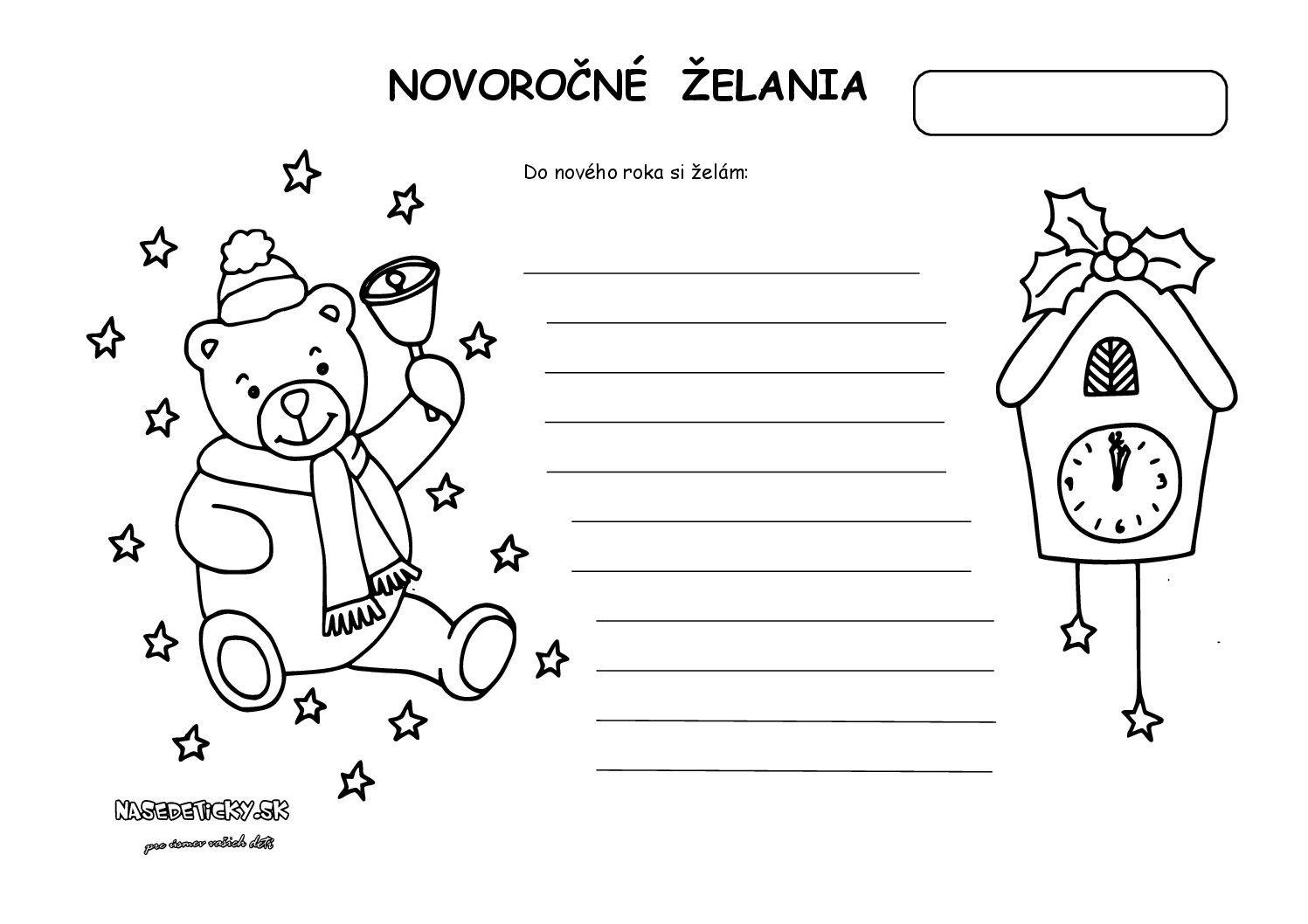 Novoročné želania - pracovný list pre deti