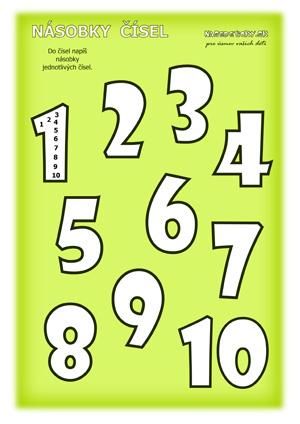 Násobilka - pracovný list - násobky čísel