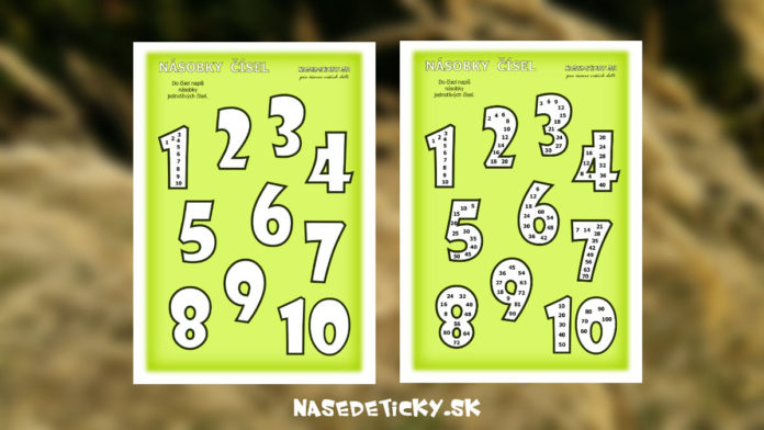 Násobky čísel - pracovný list pre deti