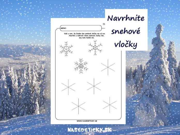 Snehové vločky - pracovný list pre deti
