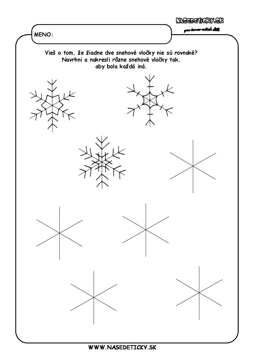 Snehové vločky - pracovný list