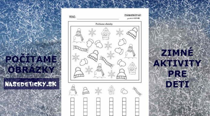 Počítame - zimné pracovné listy pre deti