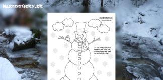 Snehuliak - omaľovánka a básnička
