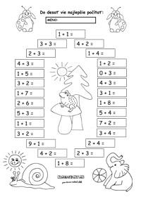 Pracovný list z matematiky pre prvákov