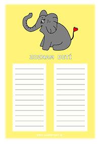 Sloník - zoznam detí