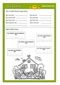 Nemčina - Die Familie - pracovný list