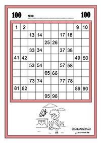 Stovková tabuľka - pracovný list